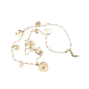 Chanel Gold-Tone Faux Pearl Snap and Hook and Eye Charm Vintage Necklace