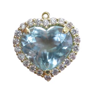 LeVian 18K Yellow Gold Aquamarine Diamond Pendant