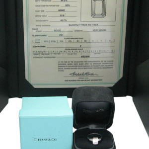 Tiffany & Co. Platinum Emerald & Baguette Diamond Engagement Ring