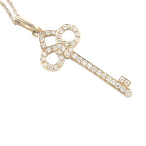 18K Round Cut Diamond Key Rose Gold Pendant Necklace