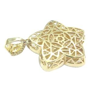 Round Baguette & Marquise Princess Cut Diamond Yellow Gold BIG Star Pendant