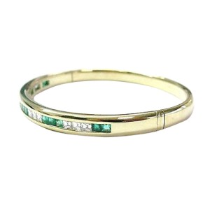 18KT Gem Emerald Diamond Yellow Gold Bangle Bracelet 3.22CT