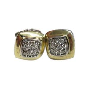 David Yurman 18K Gold & Silver Diamond Block Earrings