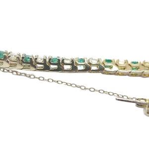 14K Yellow Gold Emerald Diamond Tennis Bracelet