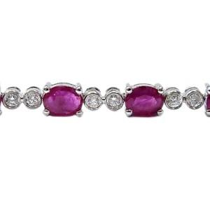 14K White Gold Ruby & Diamond Tennis Bracelet