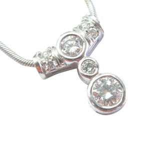 Round Diamond Bezel Set 14K White Gold Pendant Necklace