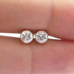 14K Yellow Gold & Diamond Bezel Set Stud Earrings