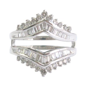 14K White Gold & Multi Shape Diamond Jacket Ring