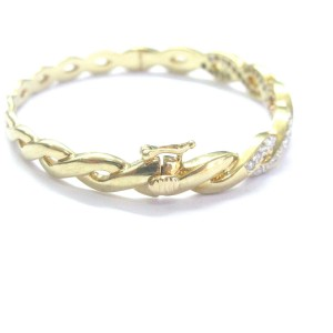 18K Yellow Gold & Diamond Criss Cross Bangle Bracelet