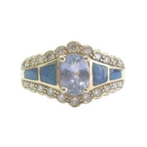 14K Yellow Gold Tanzanite Inlay Opal Ring