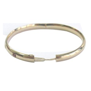 14K Yellow Gold Diamond & Ruby Bangle Bracelet