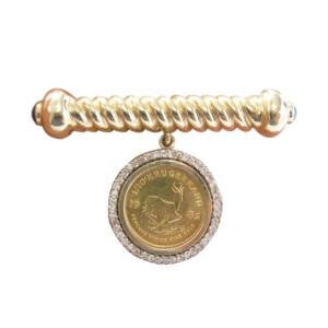 14K Yellow Gold Diamond Sapphire Krugerrand Coin Pin/Brooch