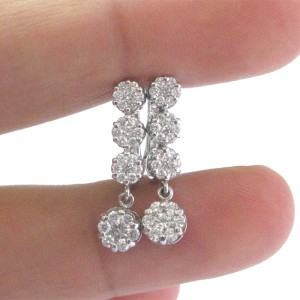 18K White Gold & Diamond Circular Cluster Drop Earrings