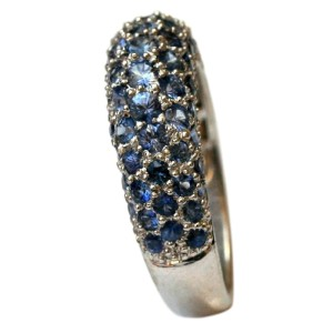 18K White Gold & Blue Sapphire Pave Set Band Ring