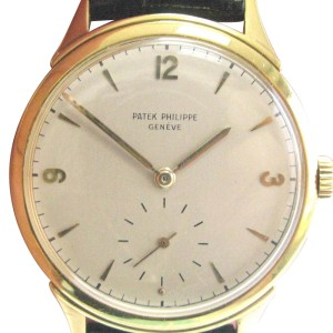 Patek Philippe 18K Yellow Gold Black Leather Strap Watch
