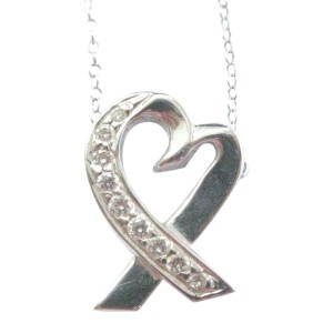 Tiffany & Co. Paloma Picasso 18K White Gold Diamond Heart Necklace
