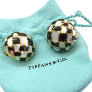Tiffany & Co. 18K Yellow Gold Mother of Pearl Onyx Circular Earrings