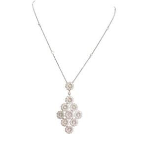 Tiffany & Co. Rose Collection Platinum Diamond Floral Pendant Necklace