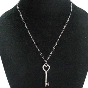 Tiffany & Co. 18K Heart Key Diamond Pendant Necklace