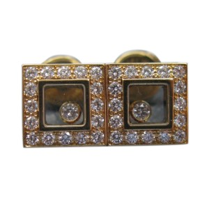 Chopard 18K Yellow Gold Large Happy Diamond Earrings