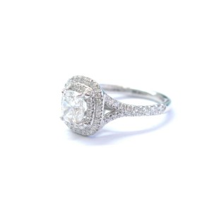 Tiffany & Co Platinum Cushion Cut Diamond Soleste Engagement Ring