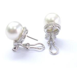18K White Gold Pearl Diamond Stud Earrings