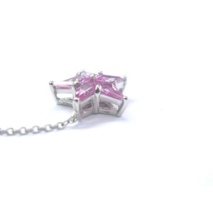 Tiffany & Co. Platinum Pink Sapphire Diamond Star Pendant Necklace