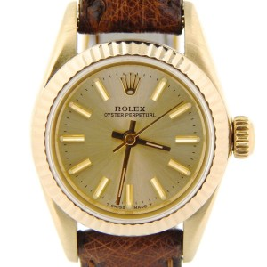 Rolex Oyster Perpetual 67197 Solid 14K Yellow Gold Brown Champagne Women's Watch