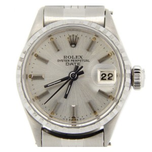 Rolex Date 6516 Stainless Steel Jubilee Band With Silver Dial Vintage Womens Watch