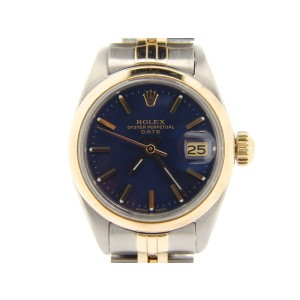 Rolex Date 6917 Two Tone 14K Yellow Gold Steel With Jubilee Band Blue Dial Womens Watch