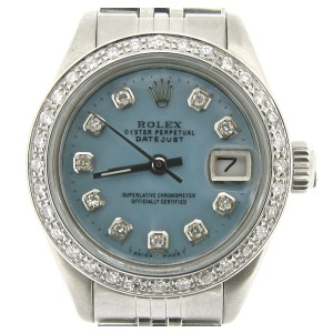 Rolex Datejust 6917 Stainless Steel With Blue Mother Of Pearl Diamond Dial & Bezel Womens Watch