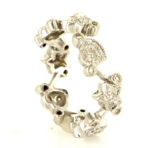 18K White Gold Diamond Heart Star Eternity Stack Ring