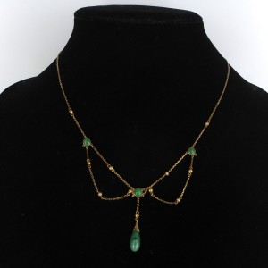 14K Yellow Gold Jadeite Jade Drop Necklace