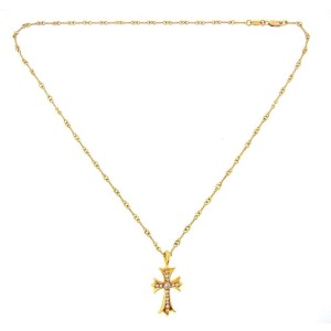 Chrome Hearts 22K Yellow Gold Diamond Cross Necklace