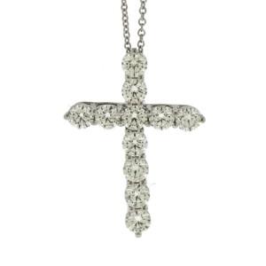 Tiffany & Co. Platinum 1.71 Ct Diamond Large Cross Pendant Necklace
