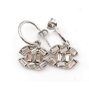 Chanel Silver-Tone CC baguette Crystal Hoop Piercing Earrings