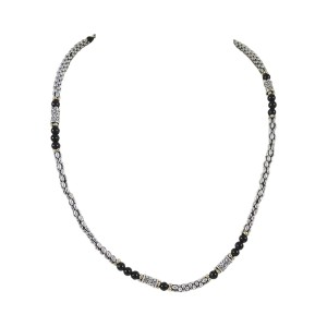 "Lagos Sterling Silver 18K Yellow Gold 18.5"" Caviar Black Onyx Beaded Necklace"
