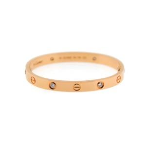 Cartier Love 18K Rose Gold Diamond Bracelet Size 16