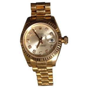 Rolex Oyster Perpetual Datejust 69178 26mm 18K Yellow Gold  Champagne Diamond Dial Watch