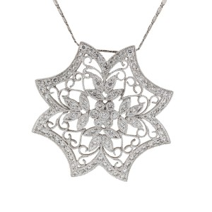18K WHITE DIAMOND FLOWER NECKLACE