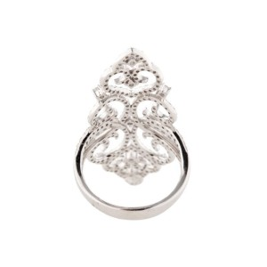 GLK BRAND NEW 14K WHITE GOLD DIAMOND FILIGREE RING