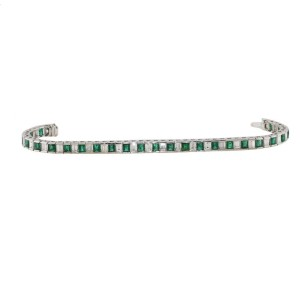 18K White Gold 5.50ct Diamond & Emerald Bracelet