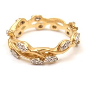 Vera Wang Fine 18K Yellow Gold Diamond Vine Motif Band Ring