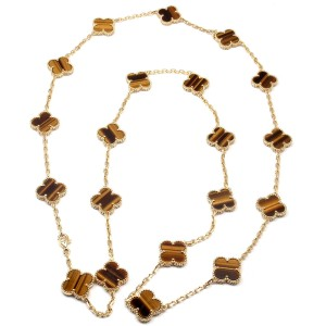 Van Cleef & Arpels 18k Gold Tiger's Eye Vintage Alhambra Necklace