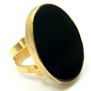 Rare Yossi Harari 24K Yellow Gold Black Onyx Large Ring