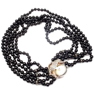 Cartier 18K Yellow Gold Silver Mother Of Pearl Onyx Bead Necklace