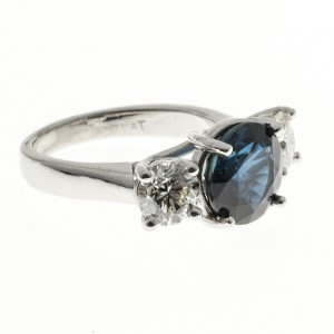 Peter Suchy Platinum Diamond Blue Sapphire Ring Size 6