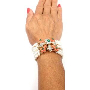 Tiffany & Co. 18K Yellow Gold Diamond Coral Emerald Pearl Bracelet