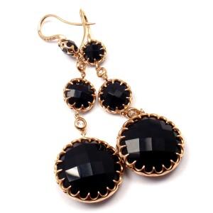 Ivanka Trump 18k Rose Gold Diamond Onyx French Wire Drop Earrings