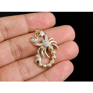 10K Yellow Gold Scorpio Zodiac Animal 0.50ct Diamond Pendant Charm